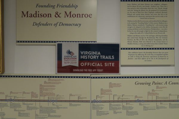 Sign within Madison and Monroe Exhibit